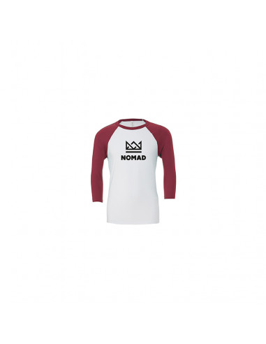 CROWN RAGLAN TEE BURGUNDY WHITE